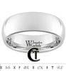 8mm Dome White Tungsten Carbide Polished Custom Black Lasered Inside Engraved Ring