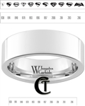 8mm Pipe White Tungsten Carbide Polished Ring Custom Laser Design