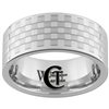 10mm Pipe White Tungsten Carbide Polished Checkered Ring
