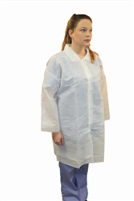 ProLite® Lab Coat Snap Front No Pockets Long Sleeve Open Wrists, White, Disposable, (30/pk)