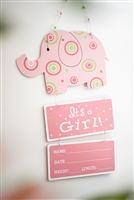"""It's A Girl"" Elephant Door Hanger"