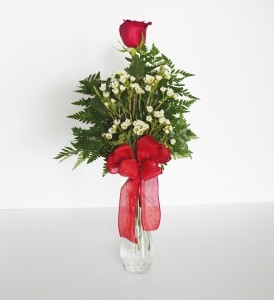 A single rose vase with coordinating bow.