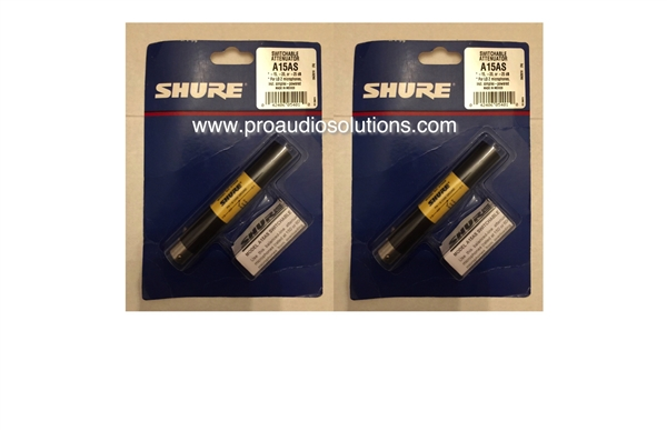 Shure A15AS PAIR- In-Line Pad with 15, 20 or 25 db of Selectable Mic Attenuation - XLR Barrel