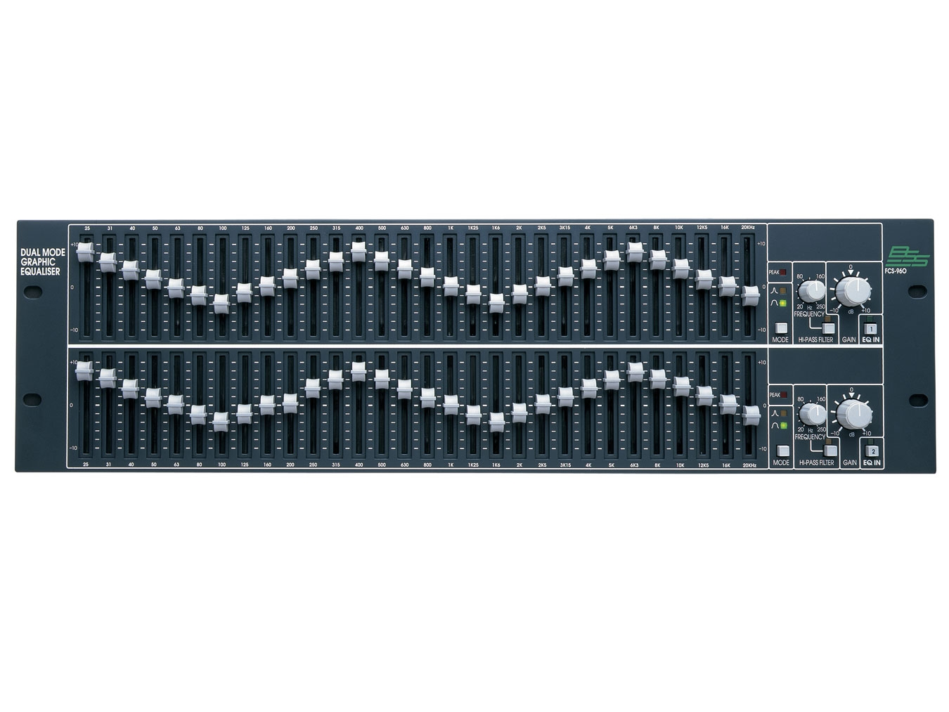 Bss Fcs 960 30 Band Dual Mode Graphic Equalizer 2 Channels Audio Pas