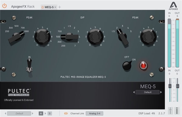 Apogee FX Rack Pultec MEQ-5 Midrange Equalizer plug-in ( Download)