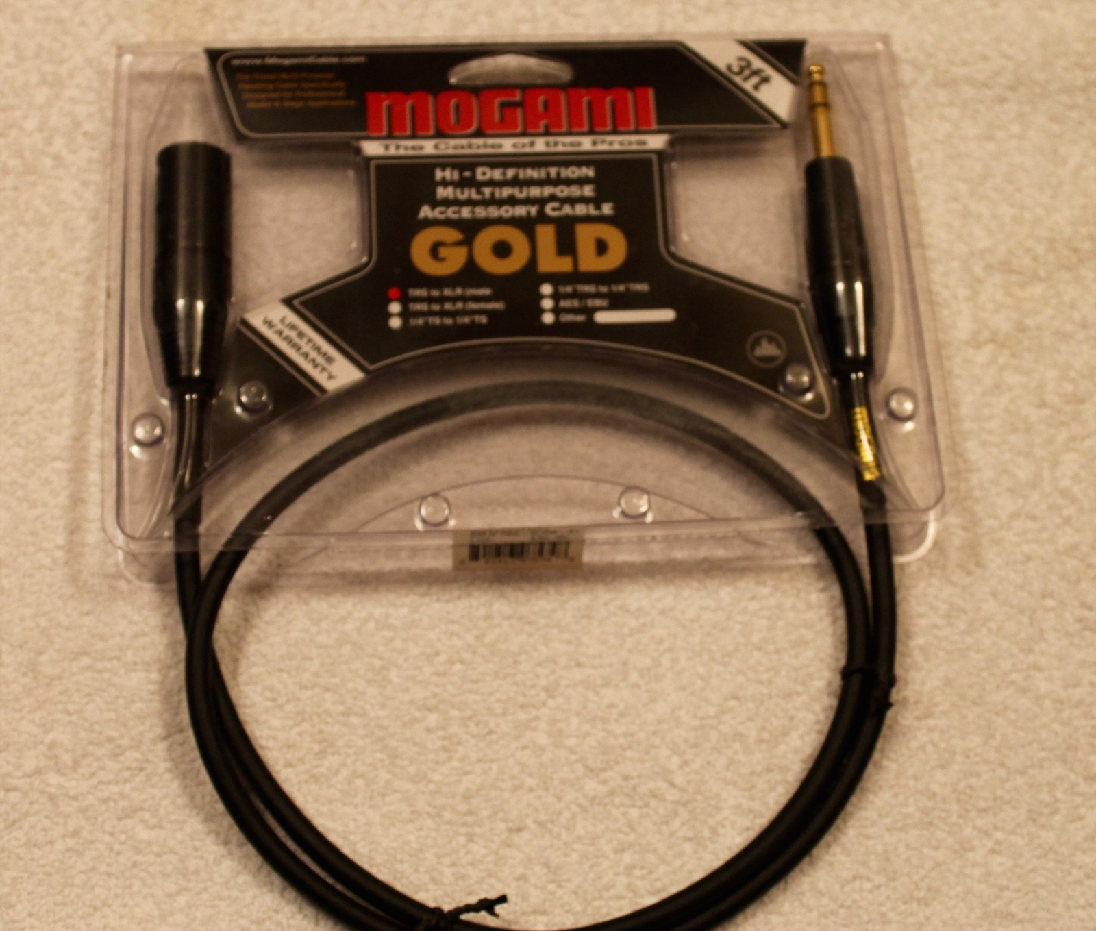 """5/' Foot Mogami 2534 Quad Balanced Cable Neutrik Gold 1//4/"""" TRS to 1//4/"""" TRS Red"""