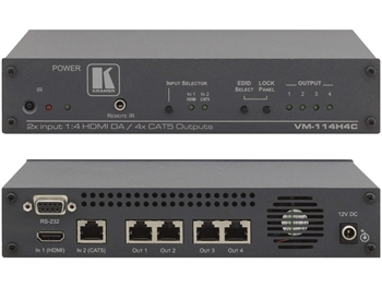 Kramer VM-114H4C 2x1:4 HDMI Switcher, Twisted Pair Transmitter & Twisted Pair Distribution Amplifier