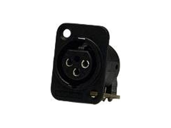Whirlwind WC3FQMBKNL - XLR Connector, WW, female chassis, black, gold contacts, metal shell, non-latching