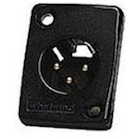 Whirlwind WC3MQBK - Connector - XLR -male panel mount connector chassis, black, with gold contacts