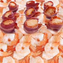 Bacon-Wrapped Scallops / P&D Shrimp