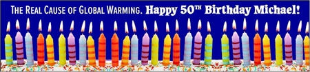 50th Birthday Global Warming Cause Banner