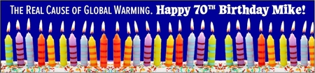 70th Birthday Global Warming Cause Banner