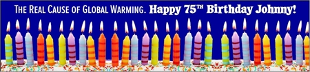 75th Birthday Global Warming Cause Banner