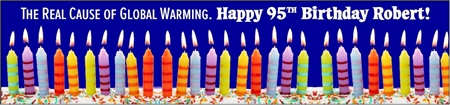 95th Birthday Global Warming Cause Banner