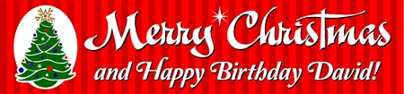 Merry Christmas and Happy Birthday Banner with Christmas Tree