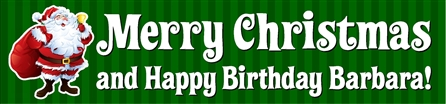 Merry Christmas and Happy Birthday Banner with Santa