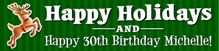 Happy Holidays and Happy Birthday Banner with Reindeer