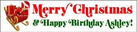 A Merry Christmas Birthday Banner with Sleighful of Presents