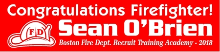 Congratulations Firefighter Graduation Banner with Helmet