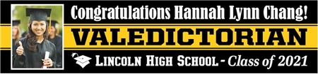 High School Valedictorian Banner with Photo