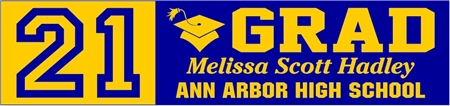 21 GRAD 2-tone High School Graduation Banner