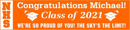 Vertical Acronym 2-Tone High School Graduation Banner 1