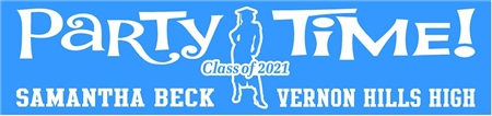 Party Time Graduation Banner with Female Silhouette 2