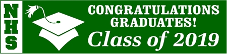 Stacked School Acronym 2-Tone Graduation Banner 1