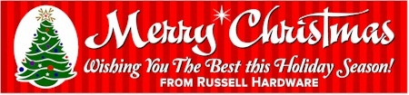 Classic Merry Christmas Banner in Red with Colorful Tree