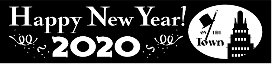 deco building silhouette happy new year banner