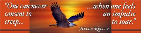 Helen Keller Soar Quote Banner with Eagle Illustration