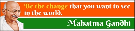 Gandhi Change Quote Banner with Illustration