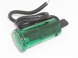 GREEN Panel lamp with leads, push in, 12.5mm, 12VDC