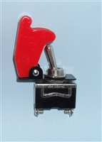 1 SPST On/Off Full Size Toggle Switch with RED Safety Cover Bundle