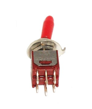 DPDT ON/OFF/ON SubMiniature Toggle switch with red handle