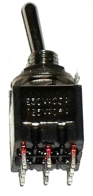 3PDT ON/OFF/ON Miniature Toggle Switch, Black body