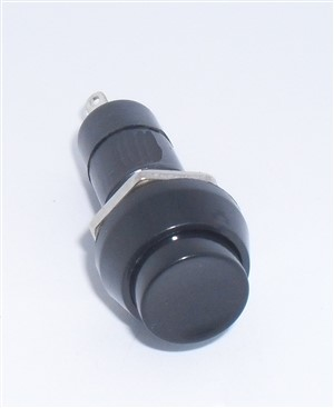 OFF/(ON) SPST Pushbutton Switch, momentary, Black