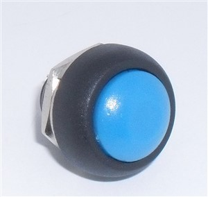 SPST OFF/(ON) Pushbutton Switch, N/O, Blue button