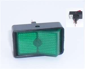 12VDC Lighted SPST Rocker Switch ON/OFF, Green