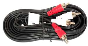 25Ft RCA Patch Cord Red and White Male Plug to RCA Male Plug