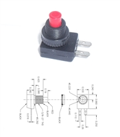 SPST Pushbutton Switch, Normally Off, momentay push on, OFF/(ON)