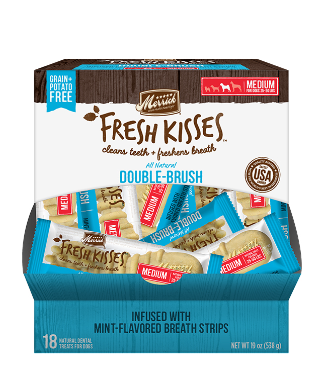 Merrick Fresh Kisses Mint Breath Strips For Medium Dogs (30-70 Lbs) (18 Count)