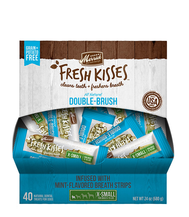 Merrick Fresh Kisses Mint Breath Strips For Extra Small Dogs (7-17 Lbs) (40 Count)