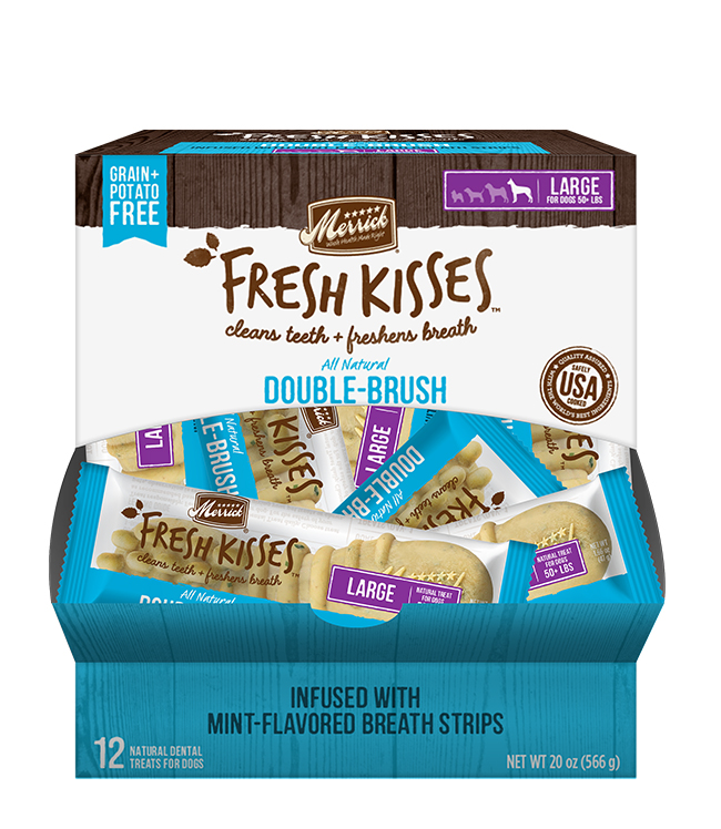 Merrick Fresh Kisses Mint Breath Strips For Large Dogs (70+ Lbs) (12 Count)