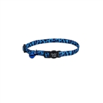 Coastal Safe Cat Fashion Adjustable Breakaway Collar Blue Leopard 3/8x12in