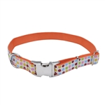 Coastal Pet Attire Ribbon Adj Nylon Collar with Metal Buckle Dots 5/8X12in
