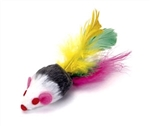 "Coastal Pet Rascals 4"" Fur Mouse with Feather Tail, 120 Count Jar"