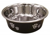 Ethical Products Barcelona Stainless Steel Paw Print Bowl Licorice 16oz