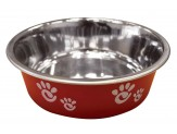 Ethical Products Barcelona Stainless Steel Paw Print Bowl Raspberry 8oz