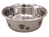 Ethical Products Barcelona Stainless Steel Paw Print Bowl Silver 16oz